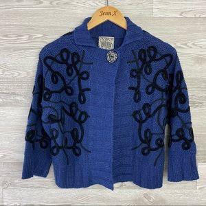 Curio Anthropologie blue Black Thick Knit Cardigan